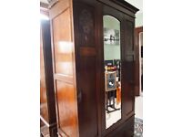 Old Victorian Mahogany Triple Wardrobe with large bottom drawer Vintage antique