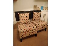 2 beautiful wood chairs with upholstered seats plus 2 matching cushions all in great condition
