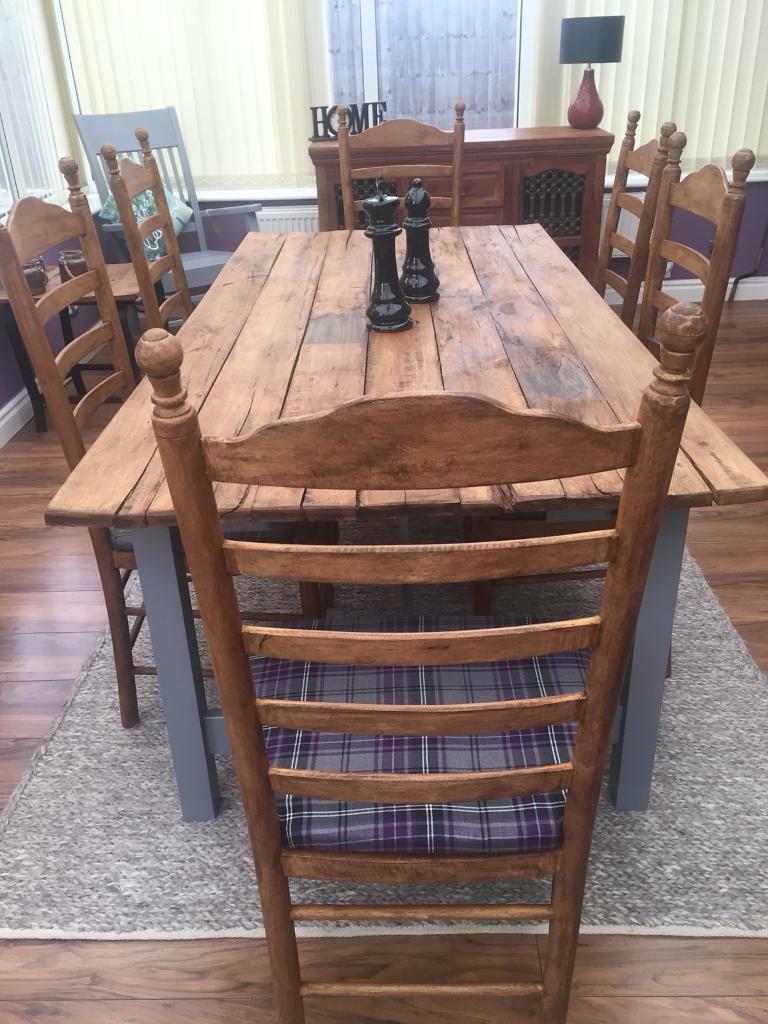 Handmade rustic dining table 6 dining chairs