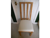 SOLID OAK WHITE LEATHER DINING CHAIR-NEW
