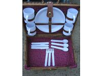 Picnic Hamper - Wickerwork Picnic Hamper with Plastic Mugs, Plates and Cutlery