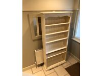 Tall painted cream solid wood bookcase cost 400.00