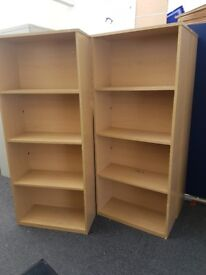 Bookcase Beech Finish 4 Compartments/Shelves Home Office Storage x 2