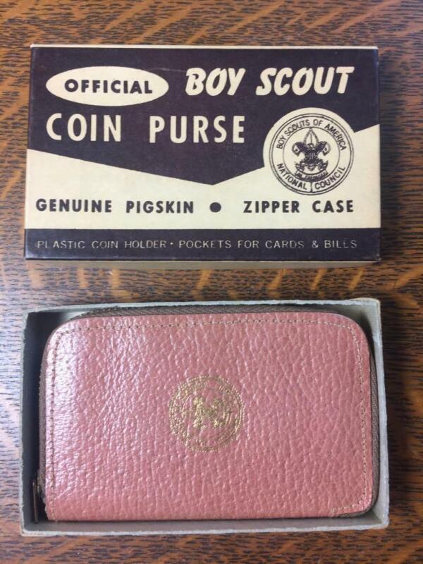 Vintage 1950s BSA BOY SCOUT Pigskin Coin Purse Change Holder Original Box