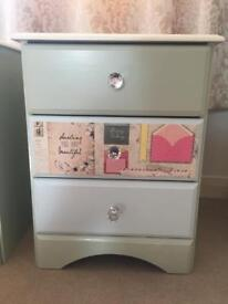Shabby chic chest of drawers and bedside cabinets