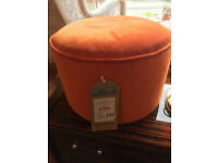 Modern Orange Velvet Footstool , in great condition Size Diameter 20in Height 13in ( 2 available )