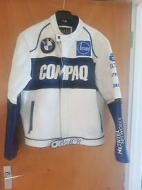 BMW racing leather motorcycle jacket, hardly worn. Excellent condition mens size large