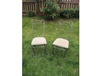 Two lovely iron ornate french style dining chairs / chairs by Bentley designs, £20