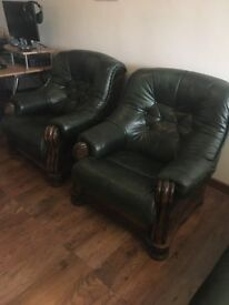 2 x Wooden Framed and Shaped Leather Single ArmChairs