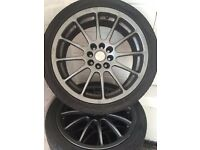 "5 SET OF 17 "" 215/40 ZR17 4 STUD MULTI SPOKE ALLOY WHEELS IN GUN METAL GREY INCLUDE TYRES"