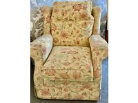 "Traditional British ""Alstons"" Branded Sofa Chair Solid-Wood, High Quality Fabric"
