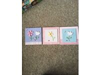 3 ceramic pictures for girls bedroom