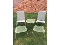 Two Rocking Garden Chairs, Footstools & Table