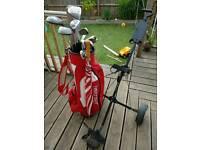 Full set of men's right handed golf clubs, bag, trolley etc