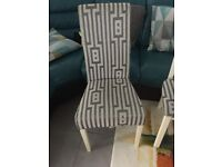 6 grey patterned fabric dinning room chairs