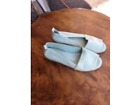 ladies new and unworn leather sandal in light blue