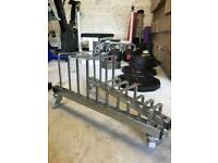 Olympic Weight Plate Bumper Storage Toaster Rack with Wheels - Weights Gym