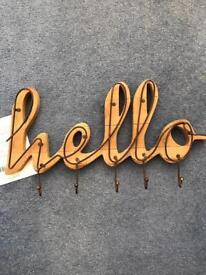 Brand new wooden hello key holder / hanger
