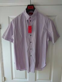 Hugo Boss Hugo Label Chiff Purple Shirt XL Tailored Fit Short Sleeve As New Condition