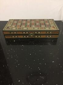 Handcrafted Moroccan style wood backgammon set