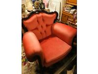 Extravagant Antique Pink Carved Wood Vintage Armchair Statement Sofa Lounge Chair Chesterfield