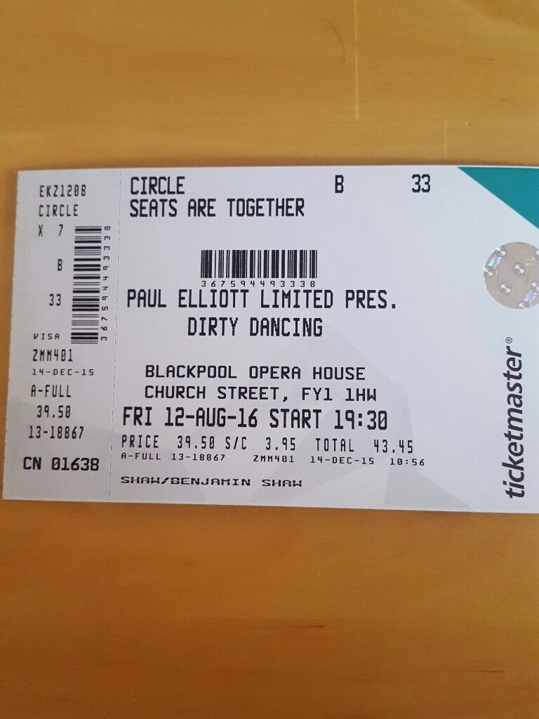 2 x tickets dirty dancing show at winter gardens in blackpool 7