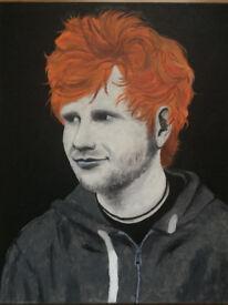 Ed Sheeran. Beautiful stunning canvas portrait - Original hand painted artwork
