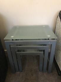 Frosted glass and glass beater tables good condition