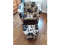 Tub chair and matching footstool