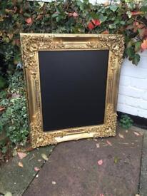 Vintage gold wedding chalkboard menu, antique chalkboard gold wedding