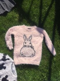 NEW WITH TAGS PLUSH PINK BUNNY RABBIT MOHAIR SOFT JUMPER WOMENS SIZE 6 GIRLS AGE 15-16 YEARS FREE DL