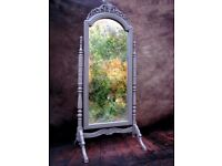 French Louis Cheval Grey Standing Mirror Carved Ornament Painted