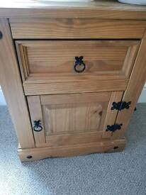 Set of two Corona Mexican pine bedside table