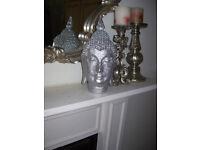 Silver Glitter Buddha Head Ornament - approx 30cm high