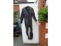 Motor bike clothes black leather all in one suit with knee and elbow protectors