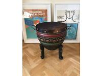 Vintage African Cowhide Table Drum