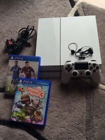 White Ps4 With 2 Games Like New