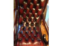 BURGANDY LEATHER CHESTERFIELD DESIGN SLIPPER CHAIR DEEP BUTTONED MAHOGANY SCHROLL ARMS