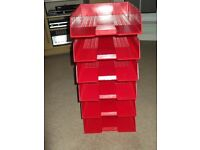 red plastic six tier filing trays(used) in good clean condition,at a bargain price of only £6.00