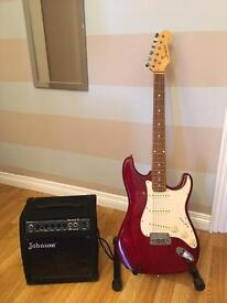 Stratocaster guitar and practice amp