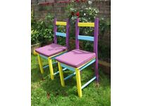 SUPER COOL HAND PAINTED 2X CHAIRS 15 POUNDS EACH + NEW CUSHIONS SEPARATE 5 POUNDS EACH. FISHPONDS.