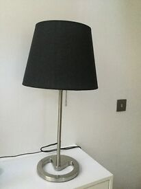 Steel lamps with black fabric flex to match the lamp shade
