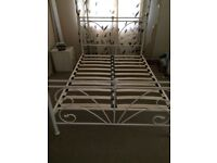 Cream metal double bed frame good condition