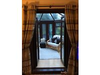2 x 90 by 90 green, cream and brown Harry Corey eyelet fully lined curtains