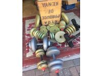 A selection of dumbbells (over 50) bing sold as a job lot.