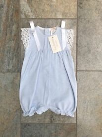Baby Girl Romper Blue bow and lace - size 6 months