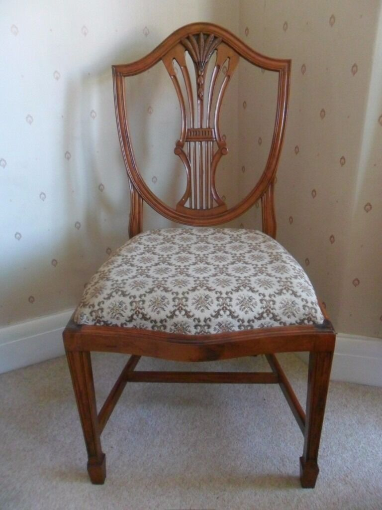 Set Of 6 Vintage Wheatsheaf Design Yew Dining Chairs