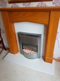 Wood fireplace with fire