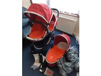 Icandy Peach Blossom Pram Pushchair/carrycot Twin Double Tandem