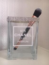 Chanel hand made tall glass storage Cube with Asfor Crystals